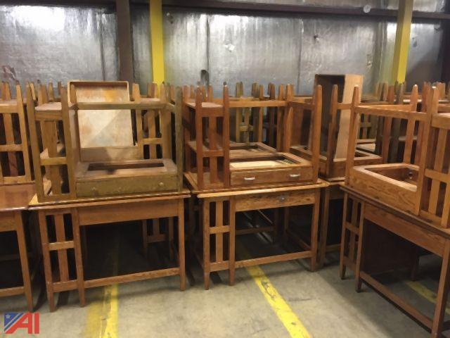Auctions International Auction Syracuse University 7536 Item Wood Desks 26 Pc