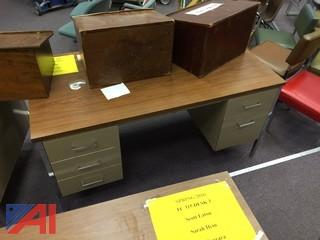 Lot of Metal Desks w/ Formica Tops
