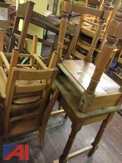 Lot Wooden Desks and Chairs