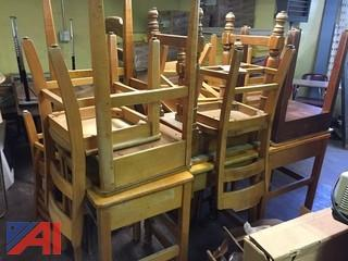 Lot Wooden Desk and Chairs