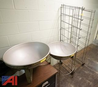 3 Pc Group Large Mixing Bowls, Folding Bread Rack