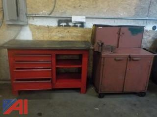 Rolling Tool Bench with Vice & Cabinet