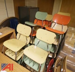 (120Pc) Multicolored 4-Legged Hard Plastic Classroom/Lunchroom Chairs With Book Baskets
