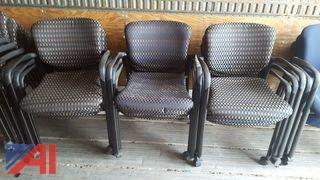 (14) Patterned Rolling Arm Chairs
