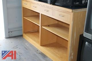 Wooden Counter with Shelves
