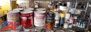 Lot: Open and Closed Paint Products on Rack