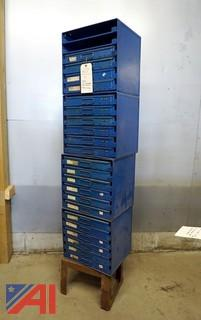 4) Six Drawer Stacking Supply Cabinets