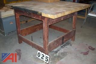 Butcher Block Wood Bench