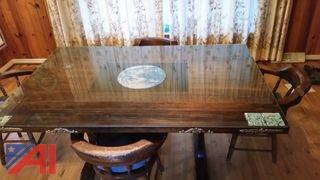 Large Trestle Table and Chairs