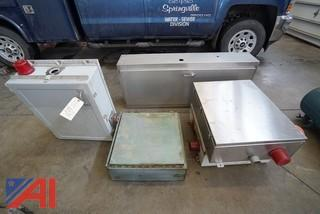 (5) pc. Group of Heavy Commercial Control Boxes and Stainless Steel Enclosure