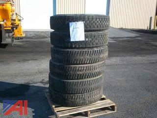 (6) recapped 11R-22-5-6 tires