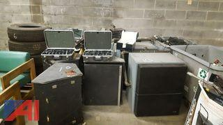 Large Lot of Audio Equipment and Large Speakers
