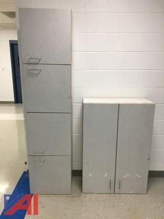 (2) Grey Wood Cabinets