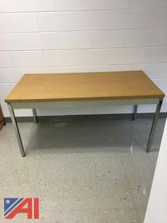 Metal Table with Wood Finish Top