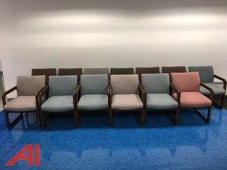 (13) Wood Chairs with Cloth Seating