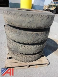 Lot of Mixed Truck Tires on Rims