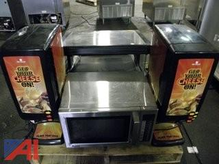 (2) Nacho Cheese Dispensers, Microwave, Display Warmer