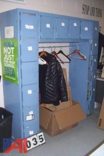 Locker unit with coat rack