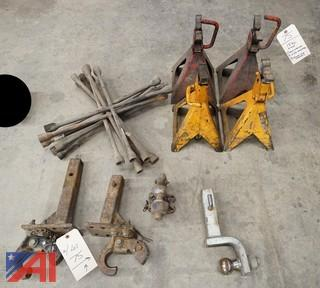 15 Pc Group Jacks, Hitch Parts and 4 Way Lug Wrenches