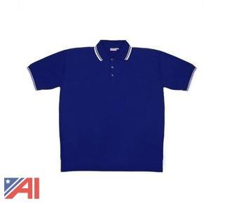(100) Men's Blue Knit Pullover Golf Polo Shirts