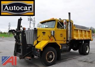 1987 Autocar Volvo White Dump Truck with Plow