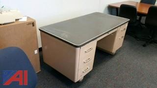 Vintage Pink Metal Office Desk