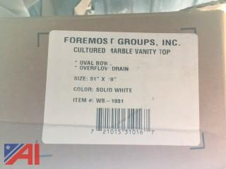 (8) Foremost WS-1931 Vanity Top, 31 in L X 19 in W, Cultured Marble, Solid White (New/Never Used)