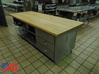 (4) Stainless Steel/Wooden Butcher Block