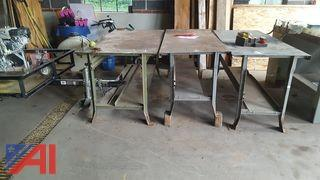 (3) Steel Work Tables