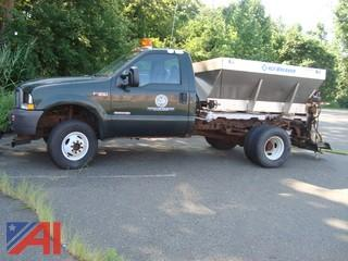 2003 Ford F350 Truck with Salt Spreader and Plow