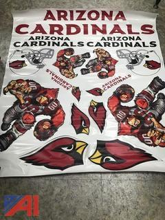 (4) Arizona Cardinals Vinyl Die Cut Decals 5'x4'
