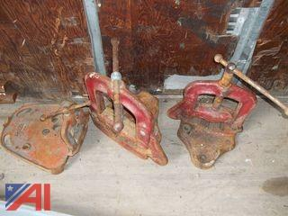 Lot of Pipe Clamps and Green Lee Stand