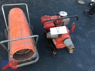 Homelite Water Pump/Dayton 100,000 BTU Salamander Torpedo Heater