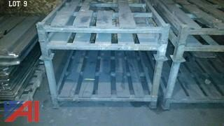 (3) Stackable Metal And Wood Pallets