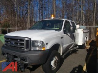 2004 Ford F350 SD Crew Cab Pickup Truck with Utility Box