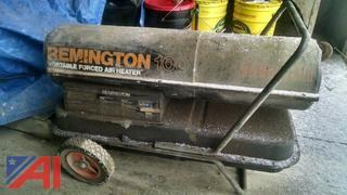 Remington Portable Space Heater and Drum of Waste Oil