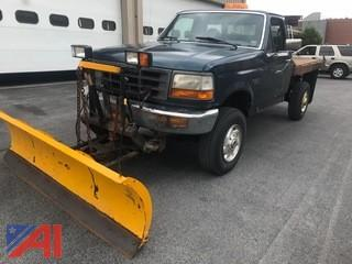 1997 Ford F350 Flatbed Pickup with Plow