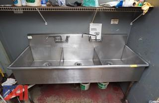 3 Bay Stainless Steel Sink with Grease Trap