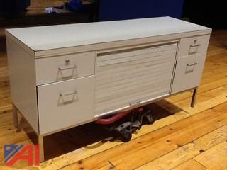 5' Metal Credenza, 4 Drawer File Cabinet, 5' Table with Drawer