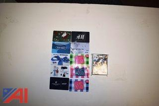 (10) Assorted Gift Cards and (1) Pack of Baseball Cards