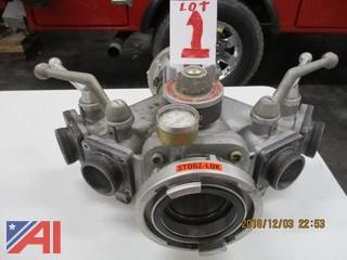 "Portable Manifold 5"" Storz to (4) 2 1/2"" Gated Outlets"