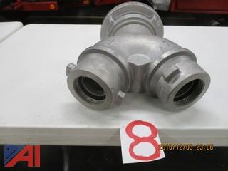 "Portable Manifold 5"" Storz to (2) 2 1/2"" Threaded"