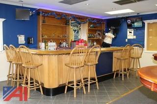 Wood Bar, Sink and (7) Bar Stools