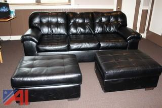 Leather Couches, Ottomans and End Tables