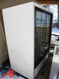 """True GDM-41C 47"""" White Refrigerated Sliding Glass Door Merchandiser"""