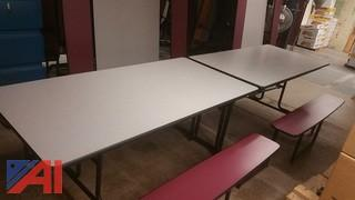 Fold Up Cafeteria Tables with Benches