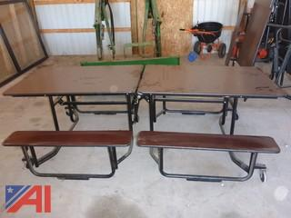 (#1498) Folding Tables with Attached Benches