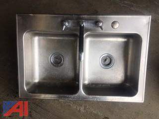 Double Bowl Kitchen Sink with Faucet and Strainers