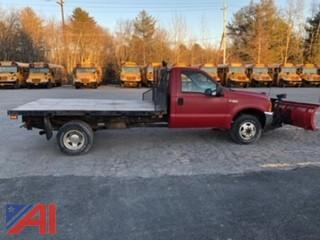 2001 Ford F350 XL Super Duty Flatbed Truck with Plow