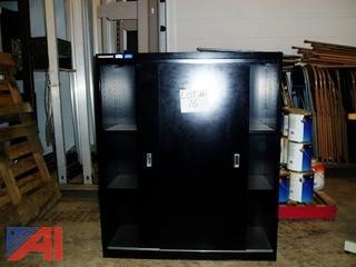 3 Shelf Storage Cabinet with Sliding Doors